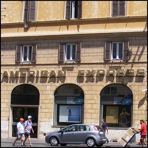 American Express Office in Rome, image by User Mattes [CC-BY-3.0] (http://creativecommons.org/licenses/by/2.0)], via Wikimedia Commons http://commons.wikimedia.org/wiki/File:American_Express_office_in_Rome.jpg