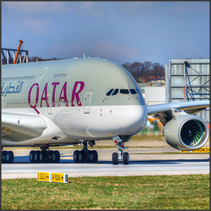 Qatar Airways - Airbus A380 by Glynn Lowe Photoworks [CC-BY-SA-2.0 (http://creativecommons.org/licenses/by-sa/2.0)], via Flickr https://flic.kr/p/mDLaXv [cropped and processed]